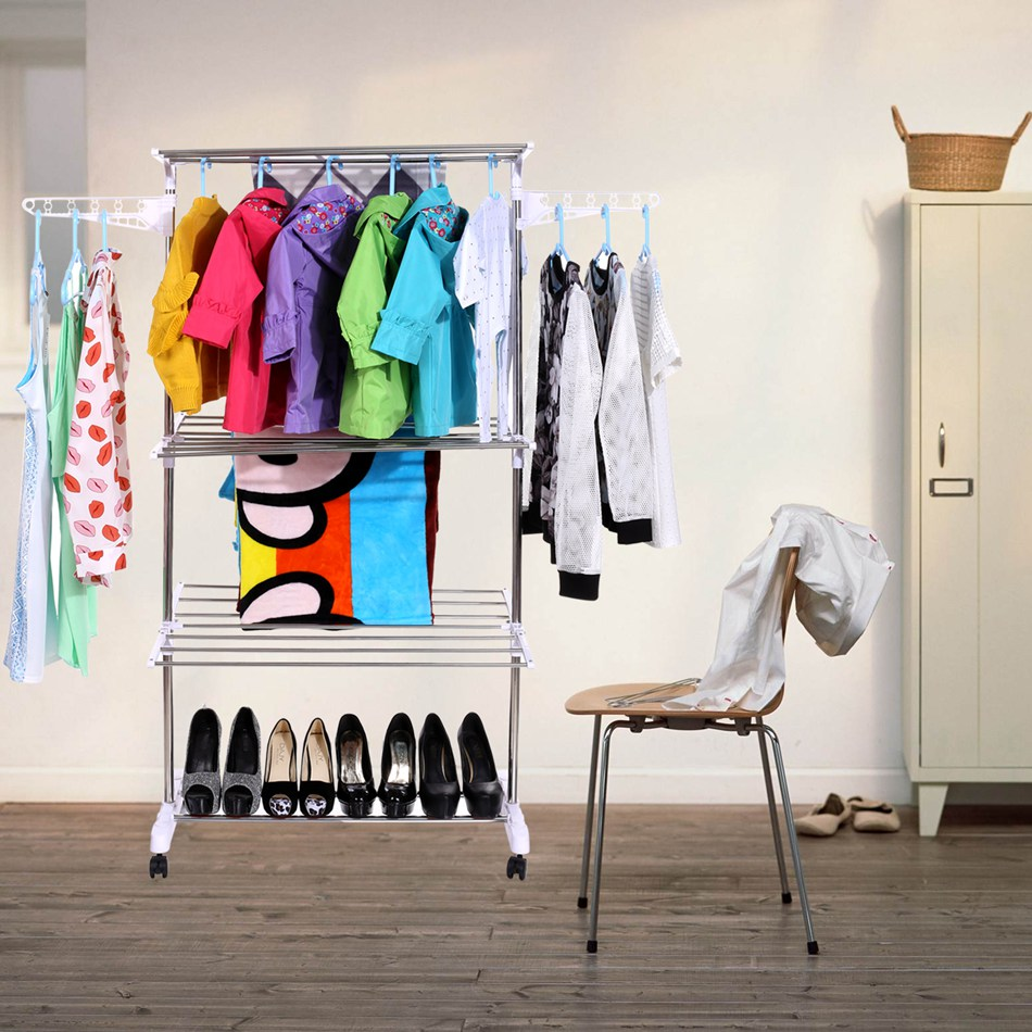 Fashion Portable Stainless Steel Clothes Hanger Organizer Clothes Floor Rack Garment Coat Bedroom Creative Hangers #50-22