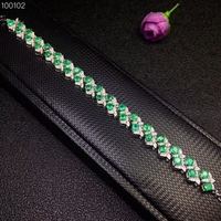 [MeiBaPJ] натуральным изумруд драгоценный браслет 925 пробы серебро зеленый камень браслет для Для женщин изысканные свадебные украшения
