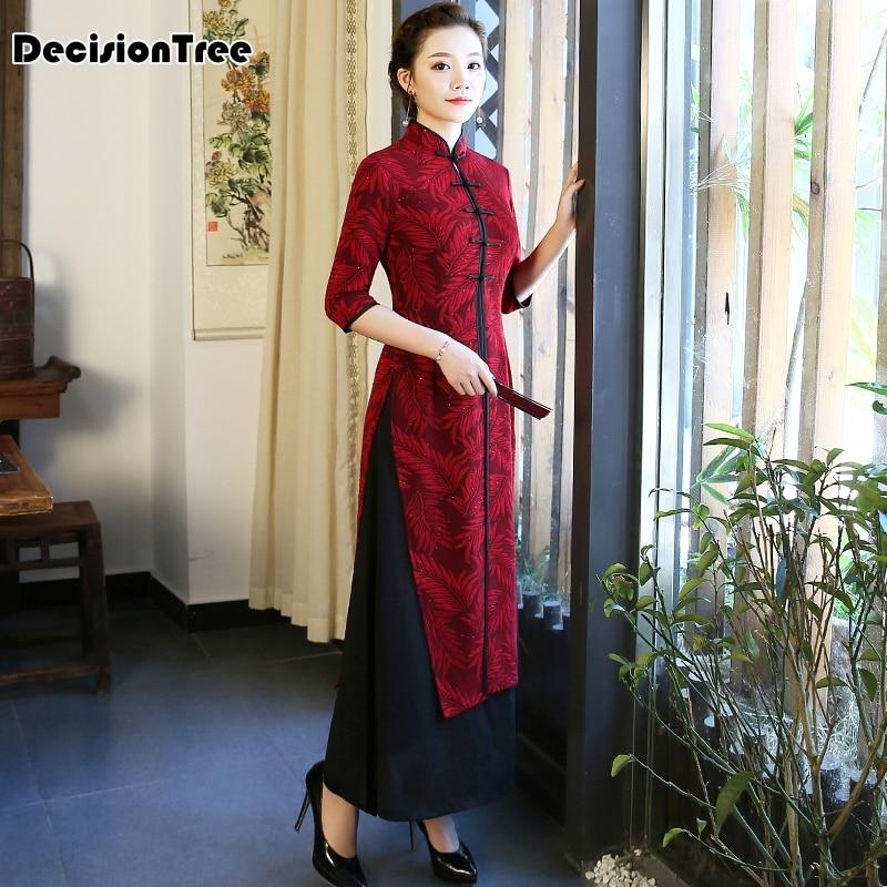 2019 Long Dress Aodai Vietnam Dress For Women Traditional Clothing Ao Dai Dress Oriental Dress Chinese Cheongsam