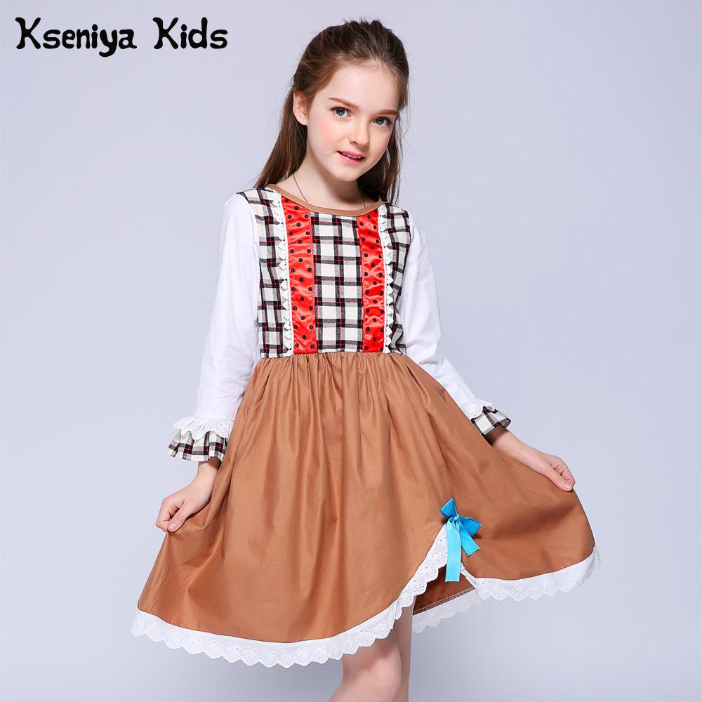 651bdfded14 Kseniya Kids Long Sleeve Girl Clothing Brand Dress Princess Flower ...