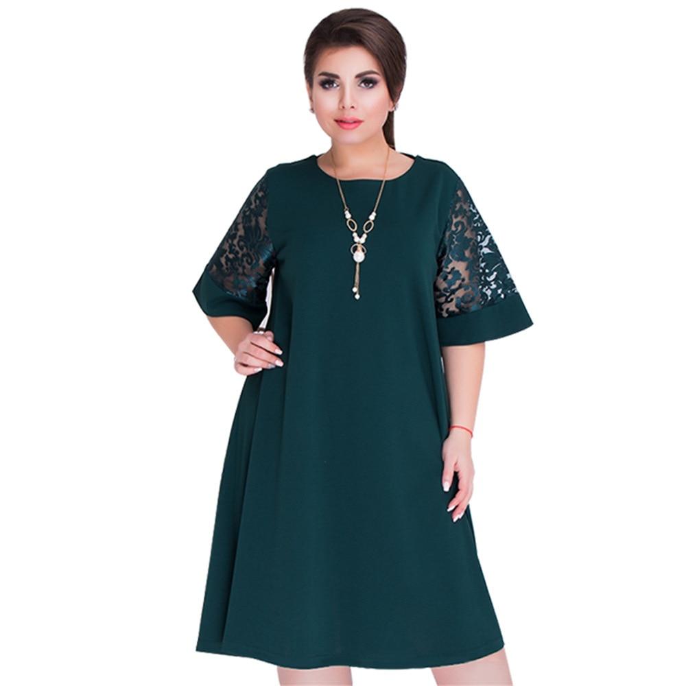 New 2018 Women Summer Princess Short Lace Sleeve Dress Elegance Loose OL Dresses 5XL 6XL Large Plus Size Clothing Party Vestidos