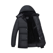 Fashion Men Down Jacket Black Warm Hood Coat Cotton Parka Winter Thick Coat Outwear Jacket Overcoat Windproof Lengthened Clothes