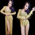 Яркие блестки танец одежда комбинезон юбка сценическое шоу ночной клуб платье Ds костюмы джазовый танец dj певица сексуальная золото экипировка