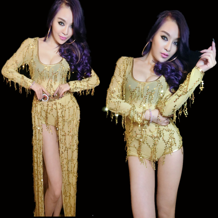f399c7152666 Jazz Dance Costume Women Beaded Sexy Long Sleeve Glitter