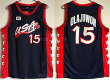 d32070d22 Ediwallen 1996 USA Dream Three 15 Hakeem Olajuwon Basketball Jerseys Sale  Men Stitched Color White Embroidery