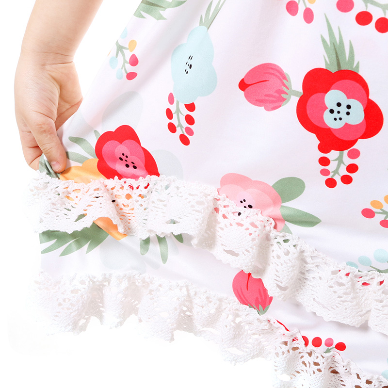 Summer Cotton Baby Girls Kids Boutique Clothes Dress Stiped Floral Lace Trim Ruffle Baby Girls Dress Toddler Outfit  (7)