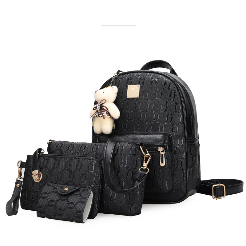 Vintage pure color pu leather fashion simple casual backpack college style zipper open bag Lovely bear four-piece women backpackVintage pure color pu leather fashion simple casual backpack college style zipper open bag Lovely bear four-piece women backpack