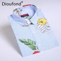 Dioufond Chiffon Blue Stripes Palm Leaf Print Women Regular Shirts Casual Long Sleeve Blouse Floral Blusas Femininas 2017 New