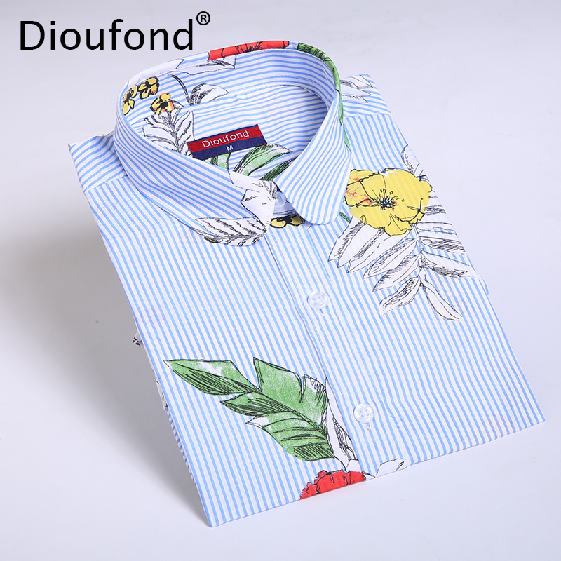 Dioufond Chiffon Blue Stripes Palm Leaf Print Women Regular Shirts Casual Long Sleeve Blouse Floral Blusas Femininas 2017 New