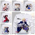 2016  Japan Cartoon Anime T-shirt Printed Saber Fate stay night T shirt Long Sleeve Casual Cosplay costume Fate Zero Tees YD-044
