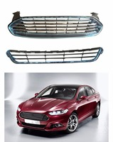 2Pcs Lower &Upper Front Radiator Grille Grill Chrome for Ford Fusion Mondeo 2013 2015