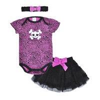 Baby Clothing Set Infant Outfits Skull Leopard Romper Headband Tutu Skirt Newborn Summer Children Clothing Baby