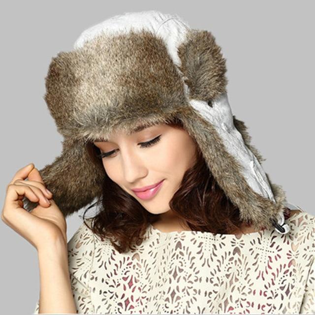 Kenmont Winter Women Lady Fashion Outdoor Ski Earflap Faux Fur Aviator Trapper Bomber Hat Russia Cap 1388