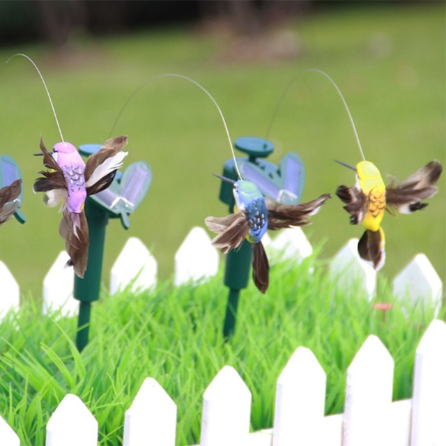 Funny Solar Toys Flying Fluttering Hummingbird Flying Powered Birds Random Color For Garden Decoration Drop Shipping 3