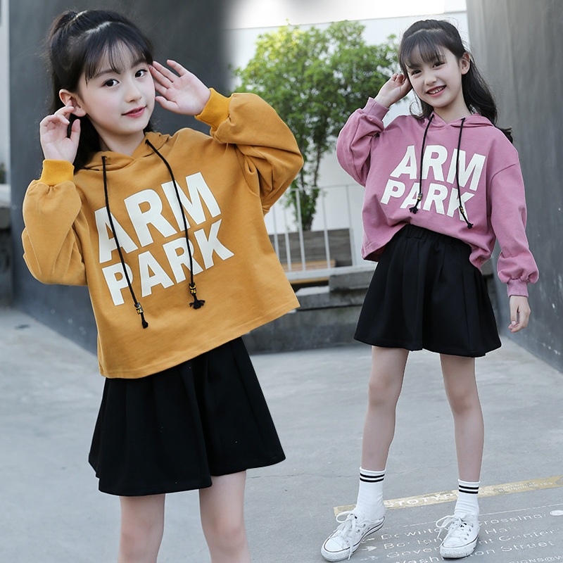 8ffd6aeda Comprar Conjunto de Ropa para Niñas 5 6 7 8 9 10 11 12 años ropa para niñas  pequeñas conjunto otoño manga larga Sudadera con capucha + falda unids 2  piezas ...