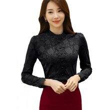 Blouse Shirt Womens Tops and Blouses Autumn Winter Korean Fashion Female Stand Collar Lace Shirt Plus Velvet Thickening Shirt цена 2017