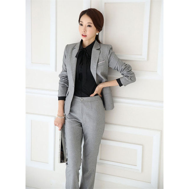 9f6e818b 2018 New Ladies Light Grey Suit Business Wear for Women Formal Business  Female Suits Costume B187