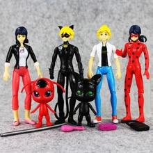 New Anime 6pcs lot LED light Miraculous Ladybug 2 Cat Noir Adrien Marinette PVC Action Figure