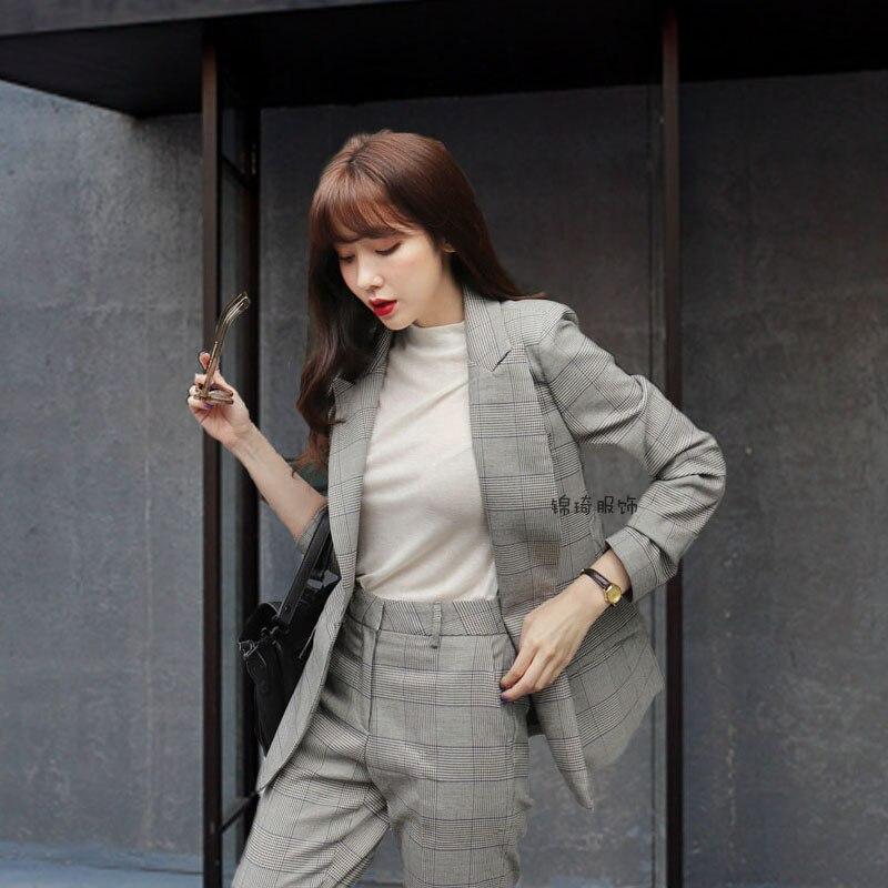 Nouveau Vent Deux Sauvage 2019 1 Costume Féminin De Veste Mince Décontracté Mode Britannique Élégant Plaid Shuit Femmes Pantalon pièce Z6qEwq5xt