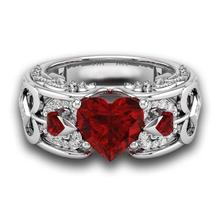 Fashion Silver Natural Birthstone Bride Wedding Engagement Heart Ring Delicate