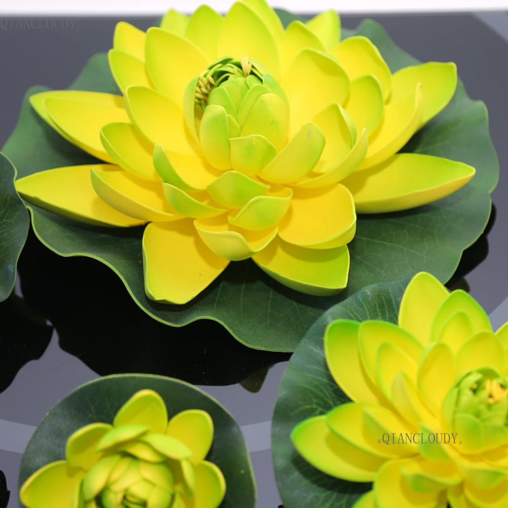 Artificial green lotus fake lotus leaf leaves flowers ponds swimming artificial green lotus fake lotus leaf leaves flowers ponds swimming water lily floating pool home garden plants wedding d24 in artificial dried flowers izmirmasajfo