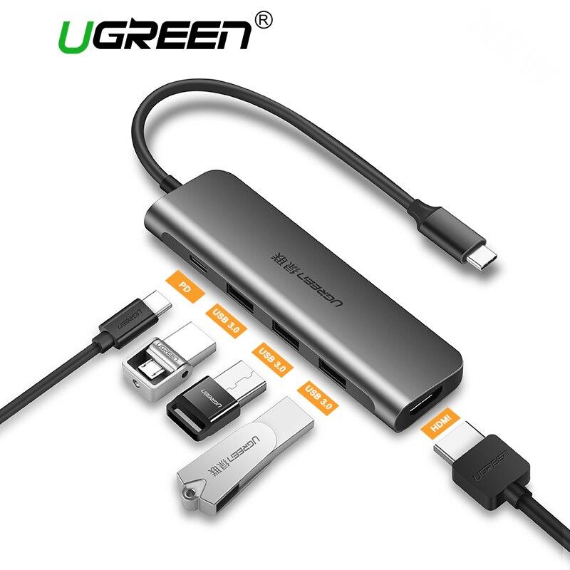 Ugreen USB C HUB USB-C a 3.0 HUB HDMI VGA Thunderbolt 3 adattatore per MacBook Samsung Galaxy S9 S8/Huawei P20 Pro di Tipo C USB HUB