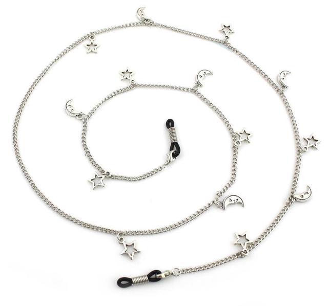 801f2509b Moda mujer colgante gafas de sol cadenas Luna estrellas gafas cadena gafas  cordón soporte cuello Correa