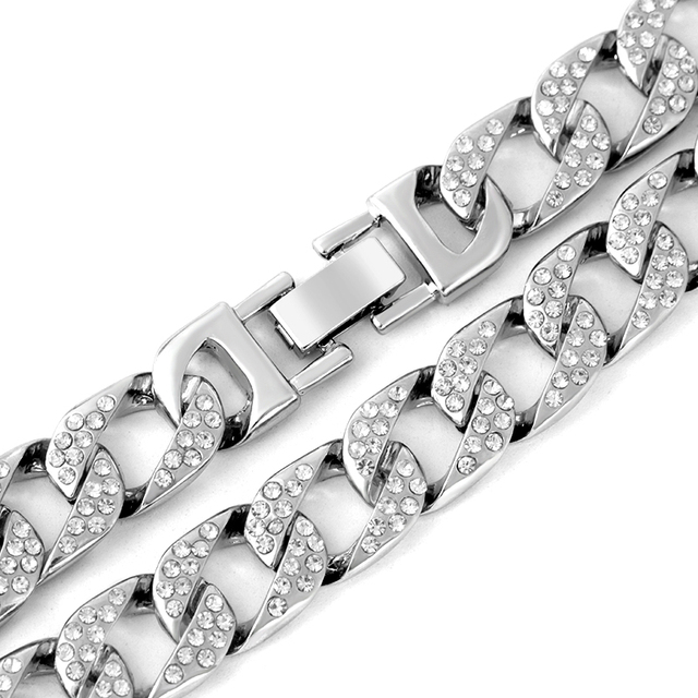 0.55 inch Crystal Embellished Silver-Plated Chain Necklace