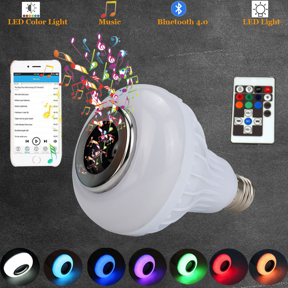 LED Light Bulb with Integrated Bluetooth Speaker 12W E27 E26 RGB Changing Lamp Wireless Stereo Audio with 18 Keys Remote Control