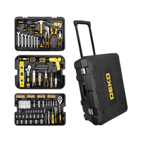Hand Tool Kit 255 Pcs Tool Set with Rolling Tool Box Metric Socket Wrench Storage Case Socket Wrench Screwdriver Knife