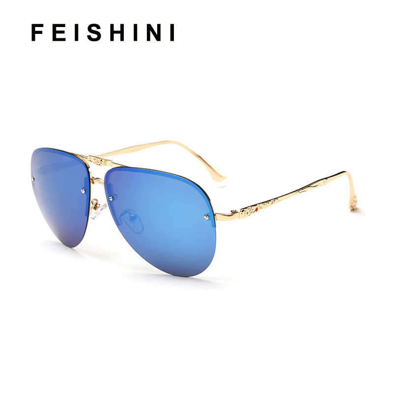 FEISHINI индивидуальный дизайн, с блестками узор лапки оправы солнцезащитных очков Для женщин Поляризованные UV400 Мужская модная обувь для вождения очки цвета розовое золото женская 2019