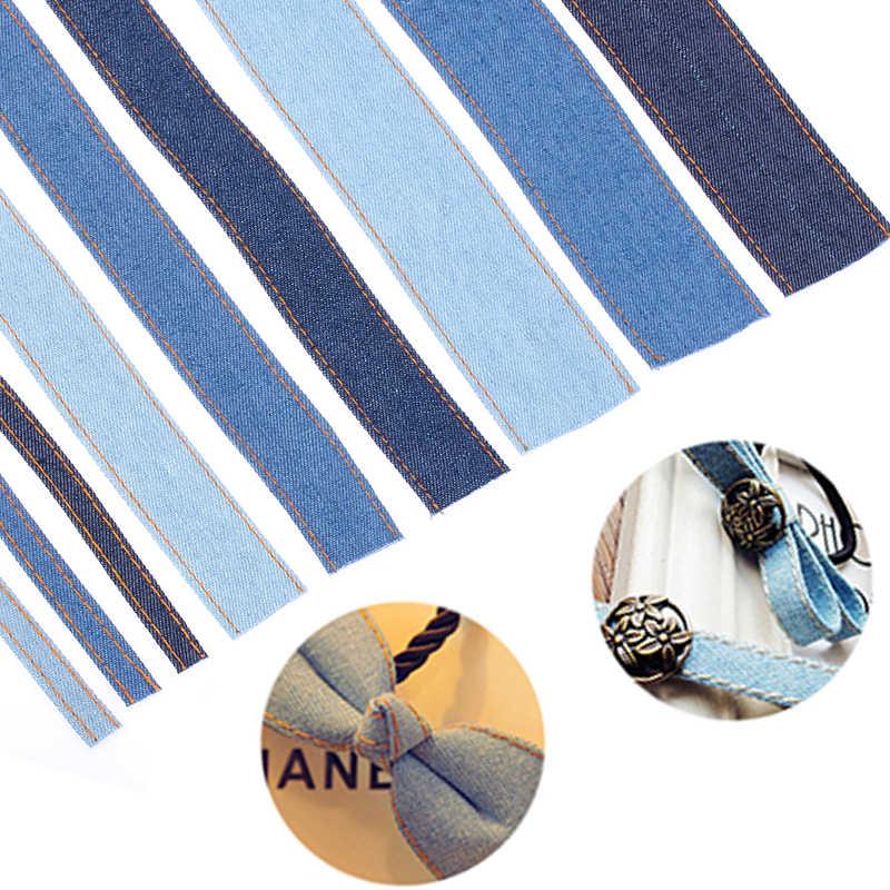 1 M Handgemaakte dubbelzijdig Jumper Denim Lint Jeans Stof Tape Boog Cap Kleding Decoratie DIY Naaien Ambachten Hairclip accessoire