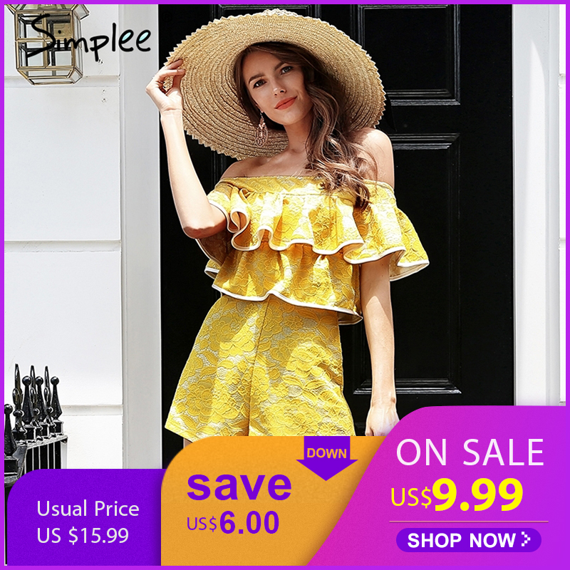 Simplee Off shoulder boho lace rompers womens jumpsuit Ruffle elegant white playsuit Summer beach short jumpsuit 2019