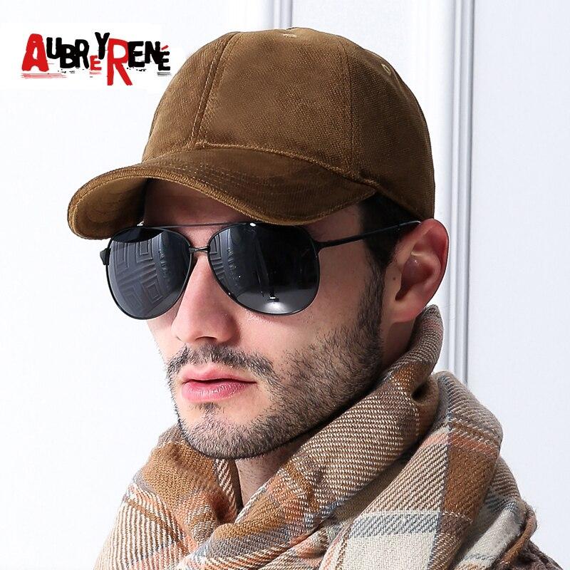 AUBREYRENE High Grade Warm Winter Autumn 100% Cotton Baseball Caps Snapback Hat  Fitted Caps Men Thickened Fabric Bones Dad Hats b8c9b11e9010