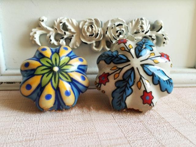 UNILOCKS Knob Ceramic Rural Handle Cabinet Pull Wardrobe Vintage Freehand Drawer