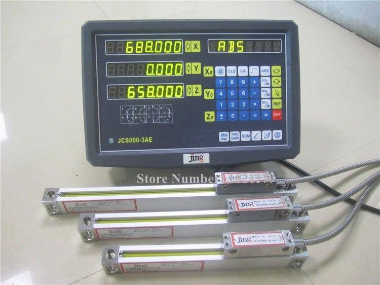 Nova leitura digital de 3 eixos com escala linear 100-1020mm 5 mícrons codificador linear completo dro kits frete grátis