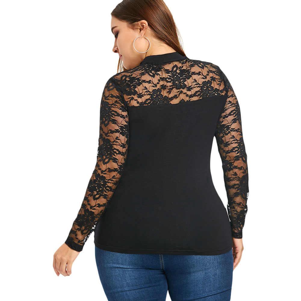 Gamiss ファッションカジュアル薄手 Smocked トップタートルネックスリムボトムシャツ Blusas 長袖メッシュシースルー Tシャツトップスプラスサイズ 5XL