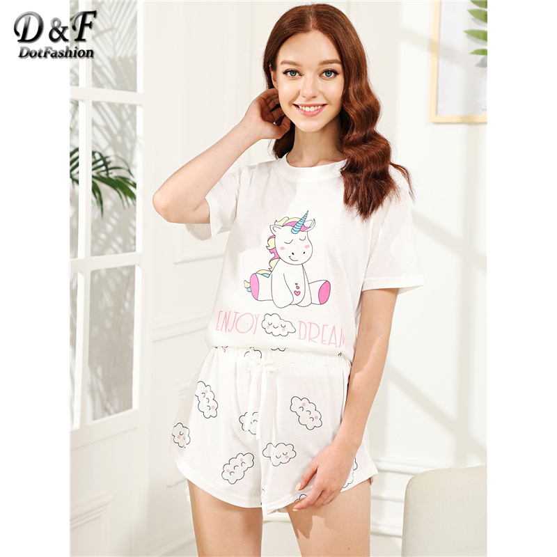 Dotfashion White animal Cloud Print Cartoon Cotton   Pajama     Set   2019 Summer Women Round Neck Short Sleeve Knot Casual Nightwear