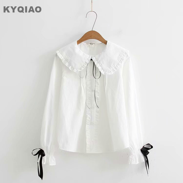 Women's Clothing Kyqiao Cartoon Shirts 2019 Mori Girls Spring Autumn Japanese Style Fresh Kawaii Long Sleeve Blue White Animal Blouse Blusa High Quality Materials