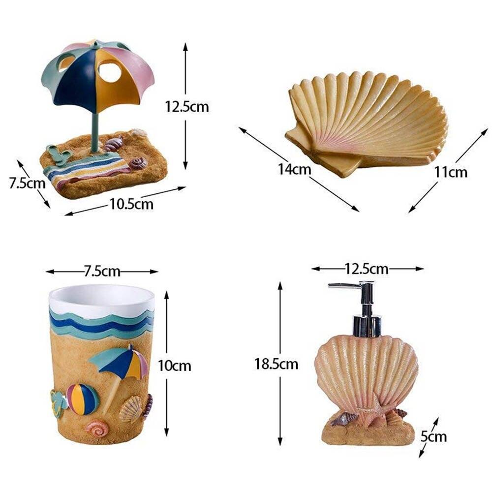 Creative bord de mer style hawaïen salle de bain bouteille bain de bouche tasse porte-brosse à dents boîte à savon brosse à dents tasse salle de bain ensembles offre spéciale - 5