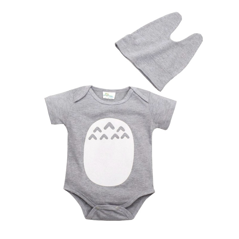 Baby   Romper   Jumpsuit Cotton Short Sleeve With Hat Character Cartoon Totoro Baby   Romper   Clothes For 0-2T CD88O