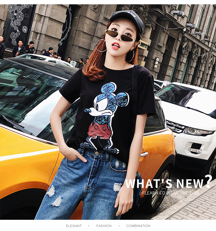 2019 Summer New Women's T-shirt Fashion Casual Mickey Mouse Printing Round Neck Short Sleeve Loose Female Tshirts 7
