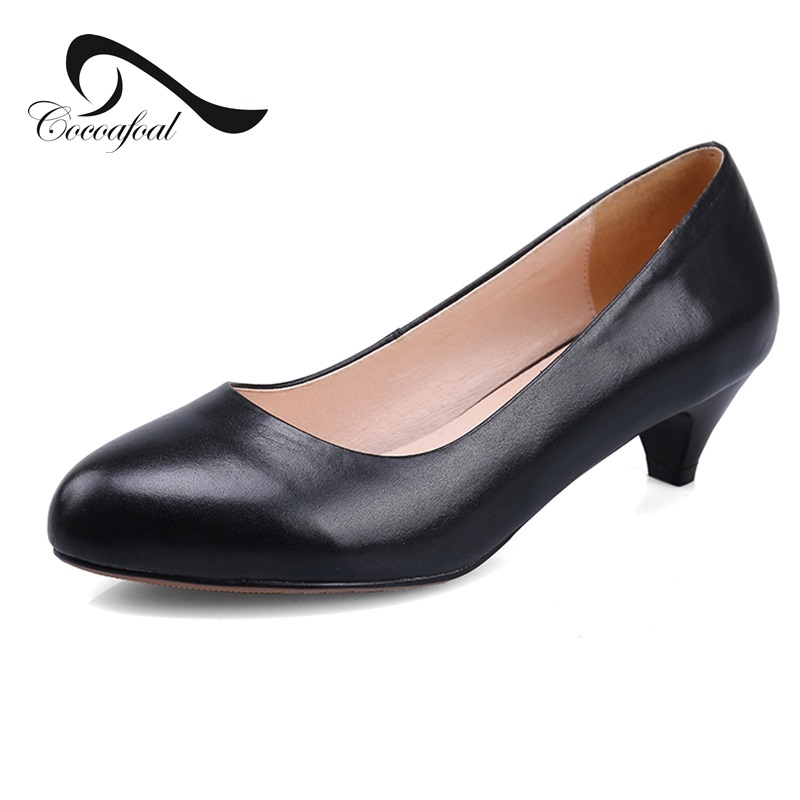 ФОТО Natural leather  2017 Latest Fashion Career Woman women shoes Shallow mouth Round toe Temperament Office Lady Hot New Products