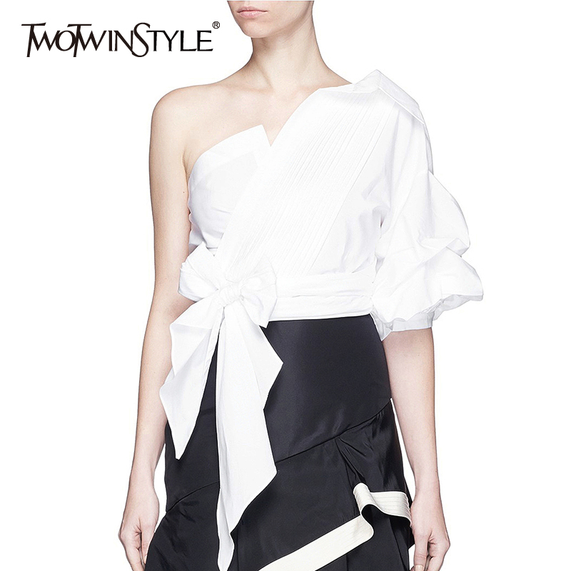 TWOTWINSTYLE Asymmetrical Shirt For Women Skew Collar One Shoulder Irregular Bowknot Lace Up Sexy Blouse Female 2020 Fashion
