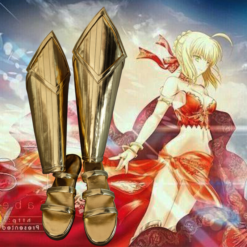 lolita Shoes fate extra saber lolita heels Cosplay Ladies fashion leisure cartoon PU leather shoes Boots Shoes High Heel Shoes