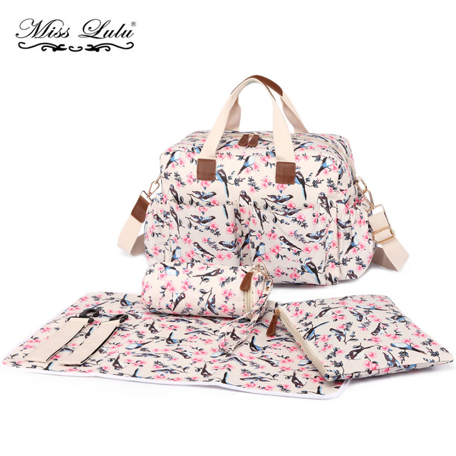 03fcb9650dc61 YD1501 MISS LULU 4PCS Flower Bird Baby Diaper Nappy Changing Bag Set  Oilcloth Mummy Maternity Handbag Satchel Tote Stroller Bags