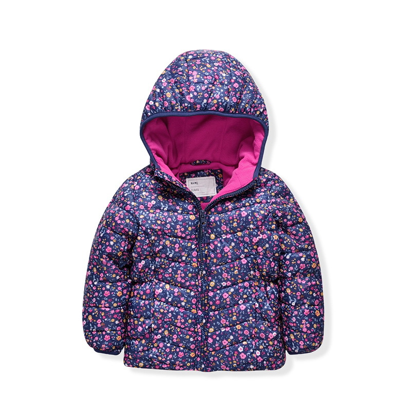 1-5T Girls Baby Purple flower thin soft bread/cotton-padded jacket Princess Warm hooded outerwear