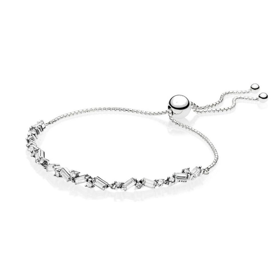 Authentic 925 Silver Bracelets for Women Glacial Beauty Sliding Bracelet fit Lady Bead Charm Pendant Girl Birthday Gift