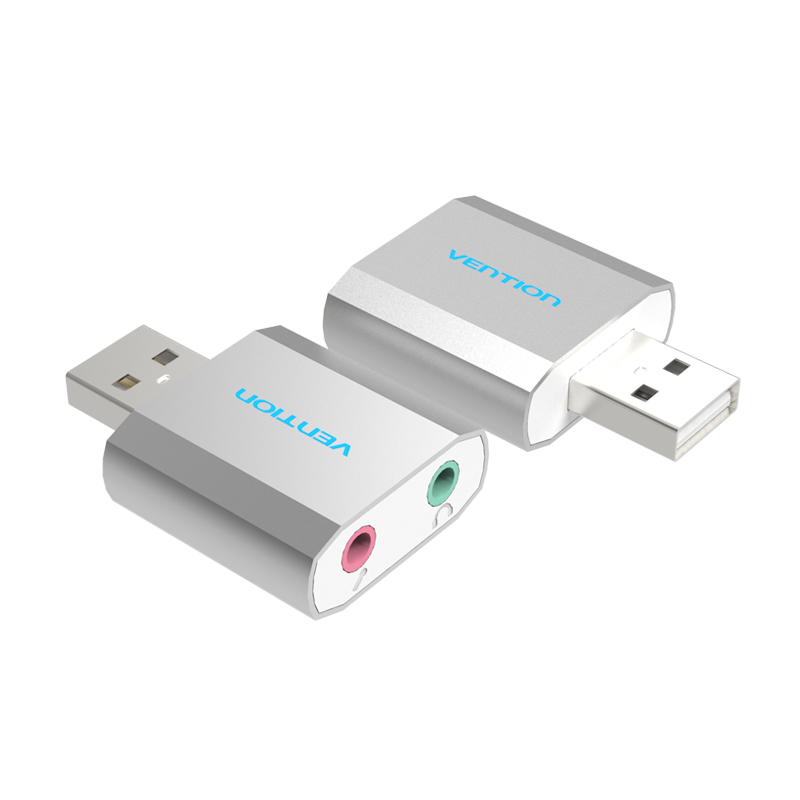 Vention Free Drive USB 2.0 External Sound Card 5.1 Channel Al Mg Alloy USB External Computer Sound Card for Windows/Linux/ Mac