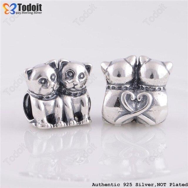 925 Sterling prata par gatos europeu Bead charme Fit estilo Pandora pulseiras colares
